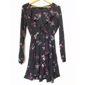 Express Black Pink Floral Print Flowy Midi Dress S
